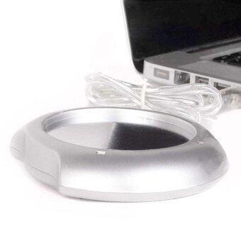 USB Cup Mug Warmer Heater Pad with 4 Port USB Hub (Silver)