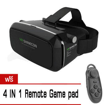 VR SHINECON by Virtual Reality Mobile Phone 3D Glasses 3D Movies Games (สีดำ) ฟรี 4 in 1 bluetooth remote controller