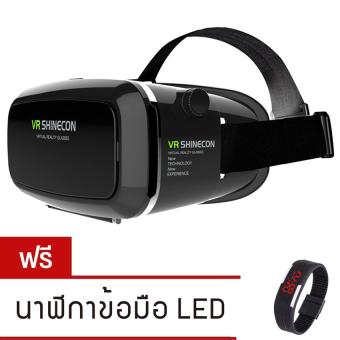 VR SHINECON Virtual Reality Mobile Phone 3D Glasses 3D Movies Games With Resin Lens (Black)ฟรี นาฬิกา LED ระบบสัมผัส (คละสี)