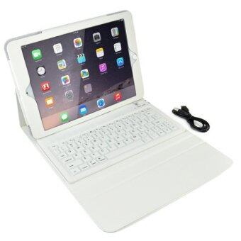 Wireless Bluetooth QWERTY Keyboard Folio Leather Flip Stand Case for iPad Air 2/iPad 6 (White)- Intl