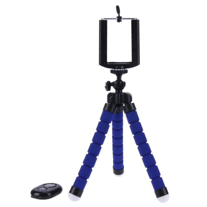 Wireless Bluetooth Self-Timer Shutter Release Camera Tripod +Remote Control+ Clip(Blue)