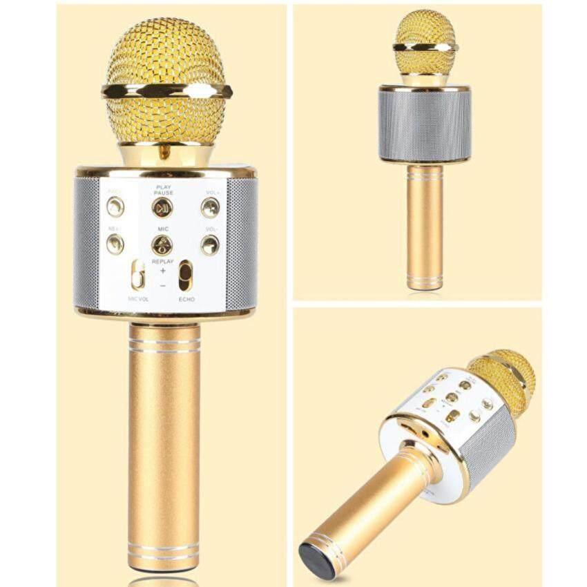 Wster Wireless Microphone HIFI Speaker WS-858 เครื่องเล่นคาราโอเกะ บลูทูธ ไร้สาย ไมโครโฟนคอนเดนเซอร์ ลำโพง ในตัวเดียว (สีทอง)