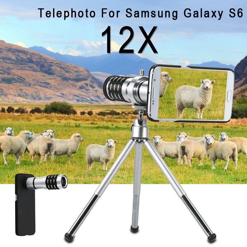 XCSOURCE 12X Zoom Aluminum Telephoto Lens+Case for Samsung Galaxy S6 G9200