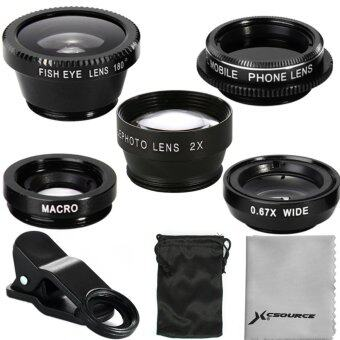 XCSource 5in1 เลนส์ติดโทรศัพท์ iPhone 5S 6ประกอบด้วย FishEye Wide Angle Macro CPL 2.0X Tele Lens