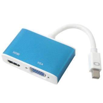 yesefus Blue 2 In 1 Mini DP to VGA HDMI Adapter Convertor for Apple MacBook MacBook Pro MacBook Air