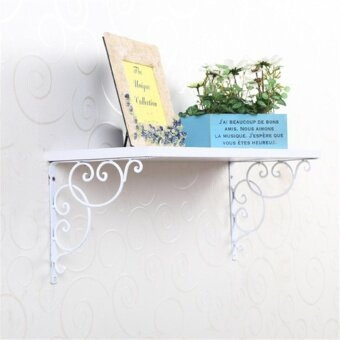 1 Pair Antique Floral Cast Iron Shelf Brackets Support Wall Mounted Decoration White 20*20cm