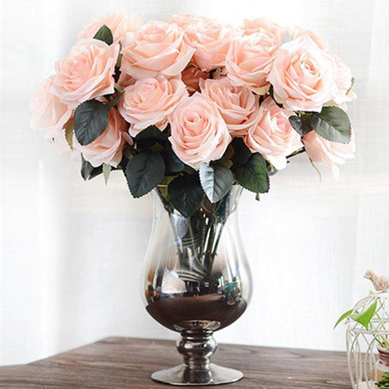 ... XCSOURCE CRYSTAL ROSES BRIDAL BRIDESMAID WEDDING BOUQUET ARTIFICIAL SILK FLOWERS PARTY DECORATE BEIGE WV344 INTL