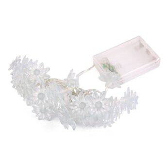 20-LED 86inch Battery Operated 2-Layer Lotus String Lamp Fairy Light Red