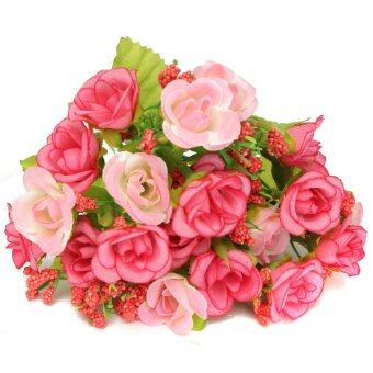 21 Heads Artificial Rose Flower Fake Silk Wedding Propose Home Party Decoration Pink