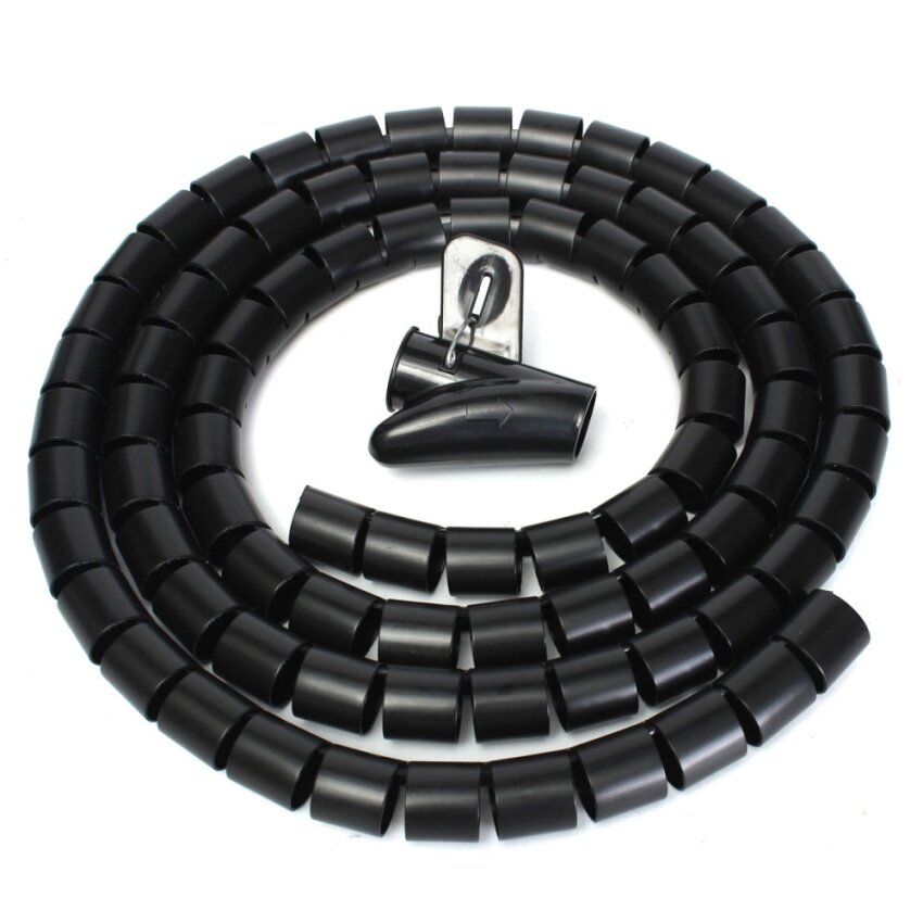 2m Cable Tidy Wire Storage Organising Organizer Spiral Wrap Tool For Office Home 25mm Bl ...