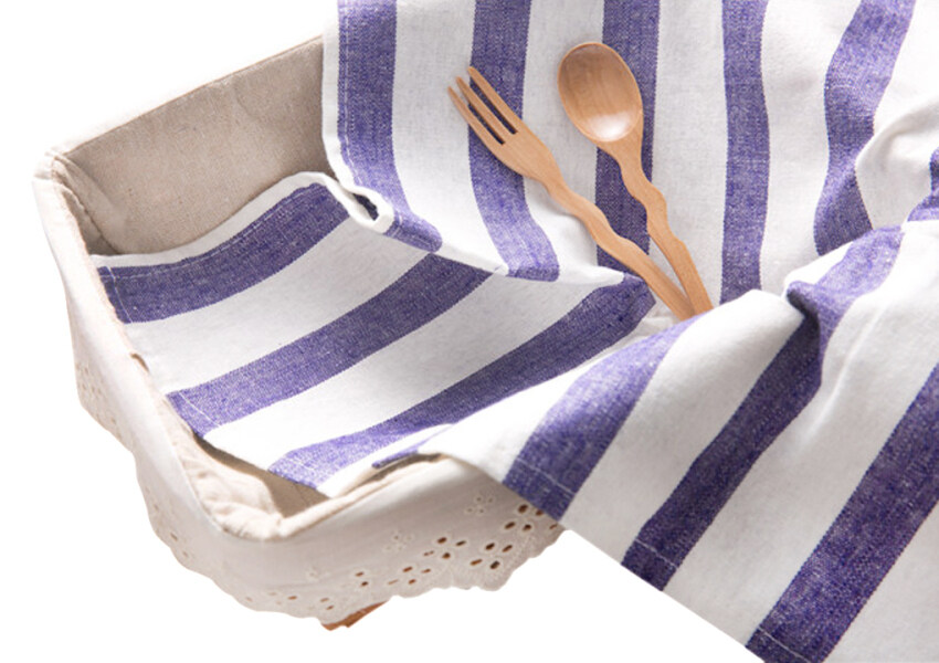 2Pcs Set 100% Cotton Classical Striped Everyday Basic Buffet Party Cloth Napkin Table Pl ...