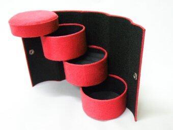 กล่องใส่เครื่องประดับ ด้านใน3ชั้น กำมะหยี่ ทรงกระบอก(สีแดง)