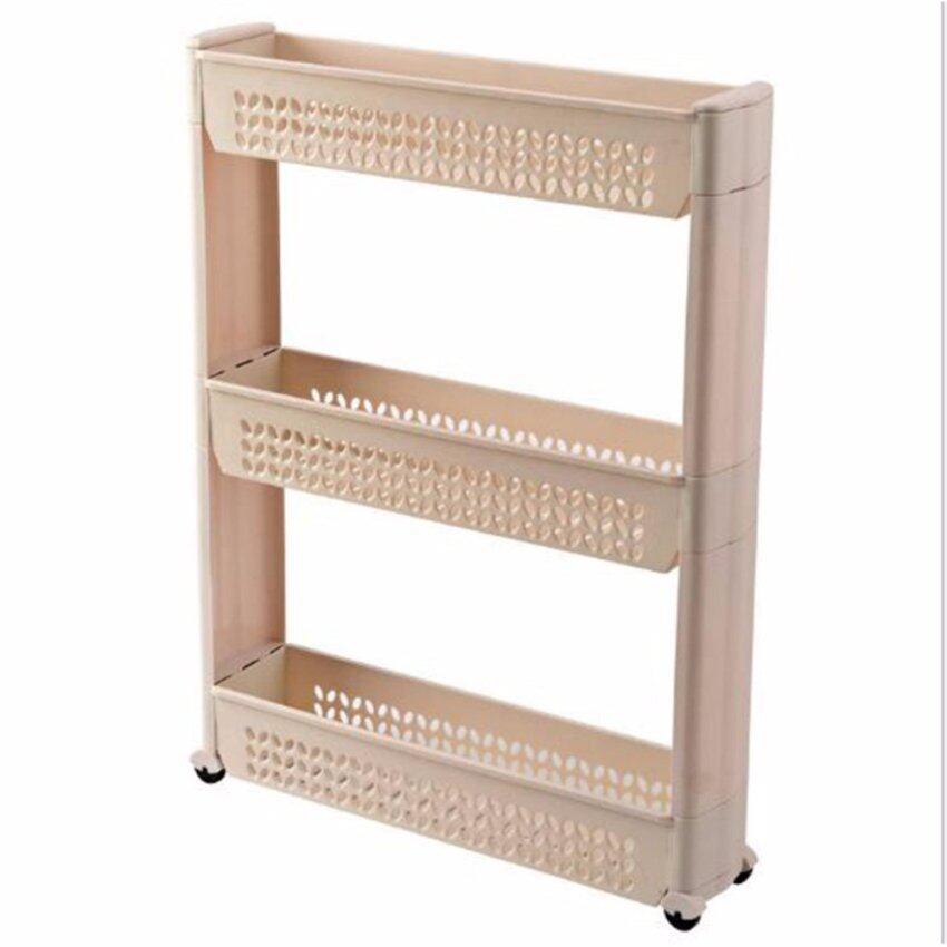 3 - Layer Movable Slim Wheel Rack Multi-purpose Storage Rack Kitchen Bathroom - intl