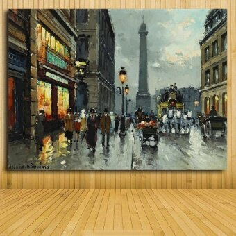 35x50CM Large size Street View printed painting pictures on the wall painted oil painting Modern landscape oil painting Unframe - intl