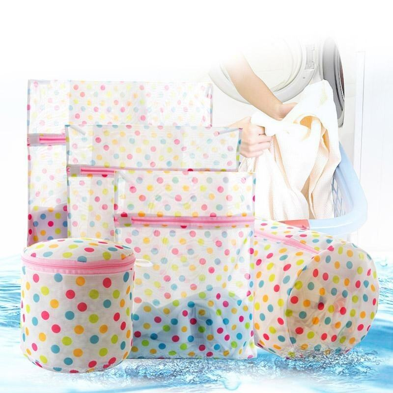 5pcs Polka Dot Laundry Wash Bags with Refined Mesh for Blouse Underwear Bra etc - intl ...