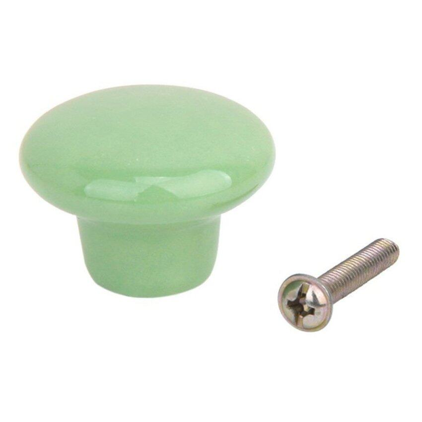 5pcs Round Ceramic Kitchen Cupboard Cabinet Drawer Door Knobs Pull Handles Size S Green - intl