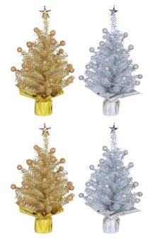 AllMerry Christmas ต้นคริสต์มาสคู่สีทอง+สีเงิน 1ฟุต ประดับปลายตุ้มทอง/เงิน (ชุด 4 ต้น)