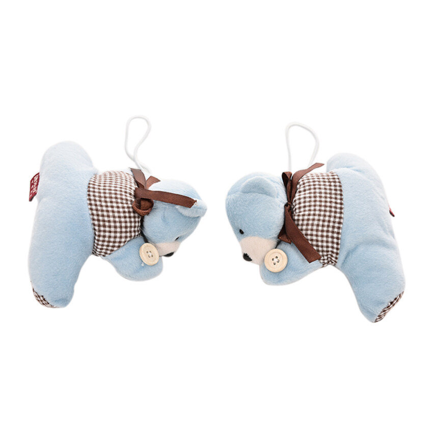Amango Fluffy Bear Curtain Tie Back Tiebacks Curtain Buckle for Child Kid Bedroom 2Pcs Blue - intl