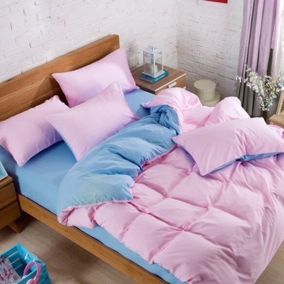 Bedding Cheap ผ้าปูที่นอน ชุดผ้านวม เกรด A 6 ฟุต 6 ชิ้น สีล้วน 034