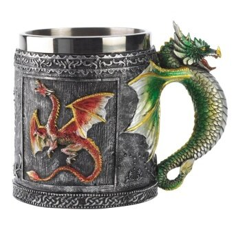 Big Family:Unique Dragon Skull Stainless Steel Mug Cup Home Office Decoration 350ML - intl