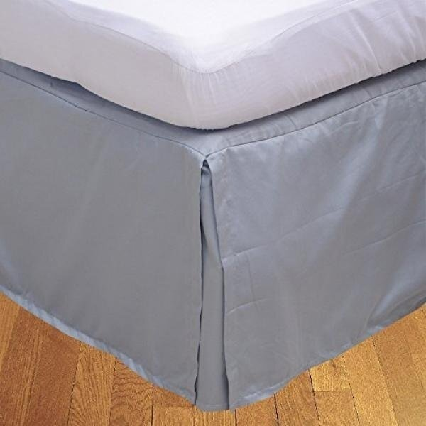BRIGHTLINEN 1PCs Box Pleated Bed skirt (Silver Grey , Queen , Drop Length 18in) 100% Egyptian Cotton Hotel Quality 400 Thread Count - intl