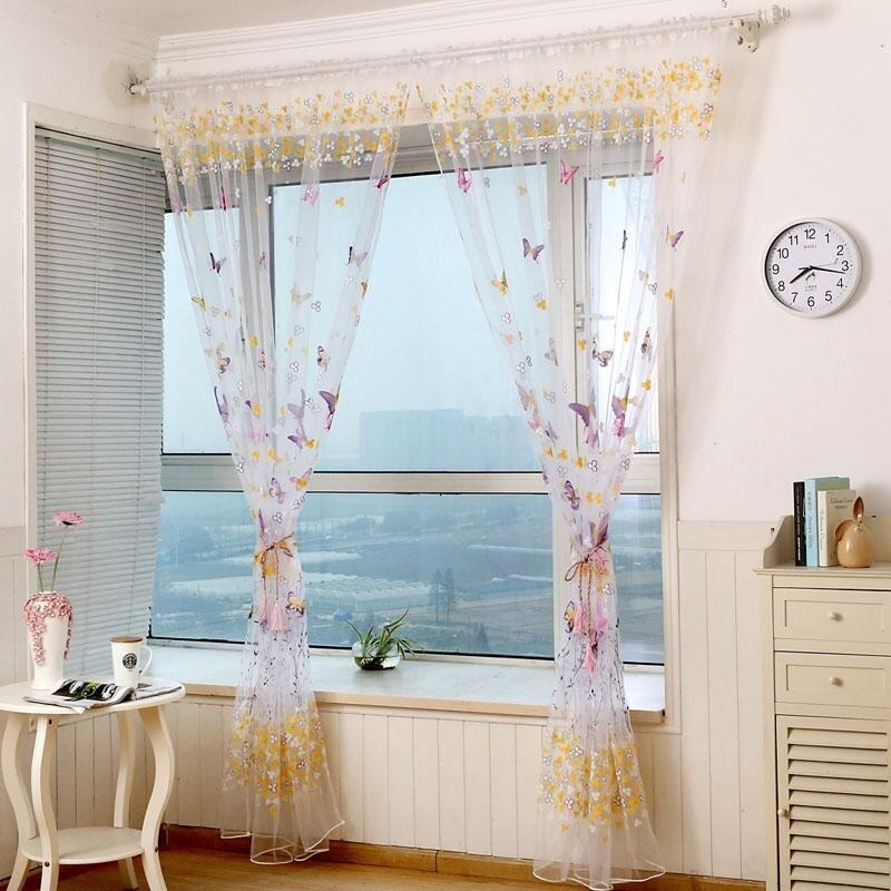 Butterfly Print Pattern Window Voile Curtains For Girls Bed Room 2 Colors 100 *200 CM Va ...