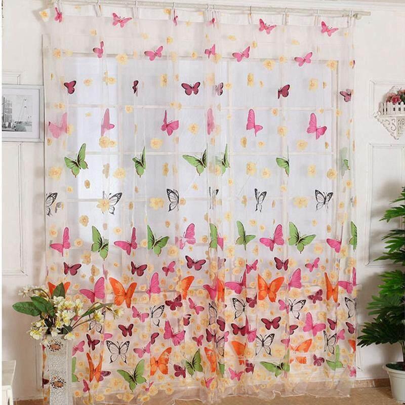 Butterfly Window Sheer Curtain Panels For Living Room Bedroom 180*210cm - intl