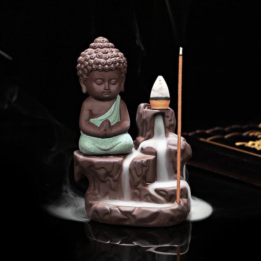 Ceramic Small Buddha Cone Smoke Back-flow Incense Burner Stick Holder Decoration (Green) - intl