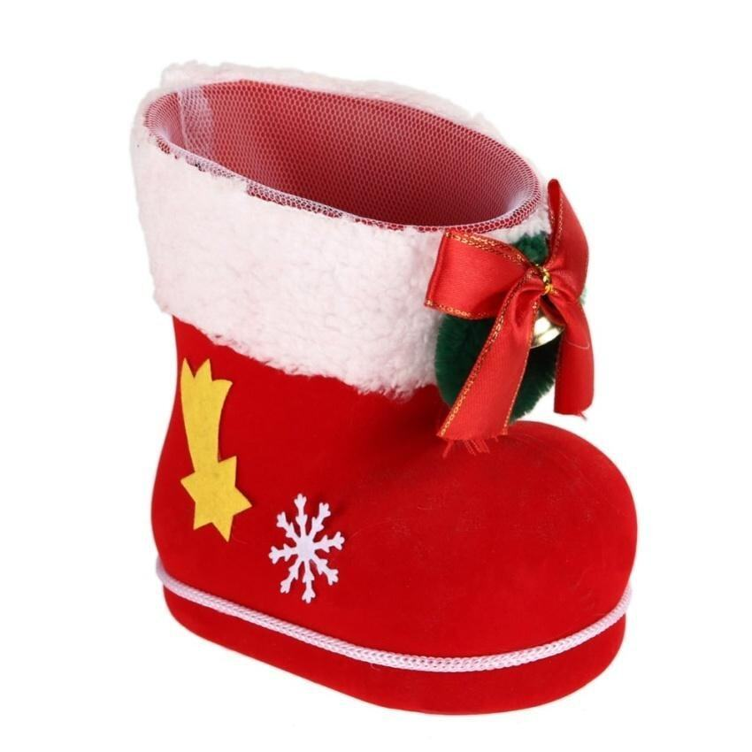 Christmas Tree Decoration Red Flocking Boots Candy Bag - intl ...