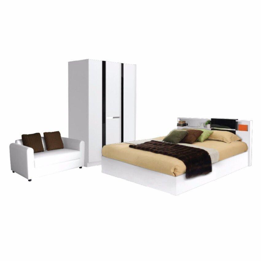 สินค้าแนะนำชุดห้องนอนRex 3 ชิ้น เตียง5ฟุต+ตู้เสื้อผ้า+โซฟา สไตล์โมเดิร์น ไม่แพง