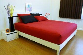 Cotton Soft ชุดผ้าปูที่นอน - รุ่น Red base soft 6 ฟุต 5 ชิ้น