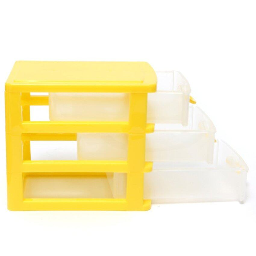 Desktop Storage Box Case with Three Drawers Jewelry Organizer Holder Cabinets Yellow