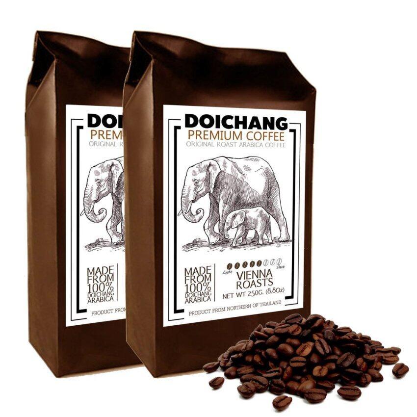 DoiChang Premium Coffee เมล็ดกาแฟดอยช้าง อาราบิก้า คั่วกลาง (2ถุง - 500g.) ...