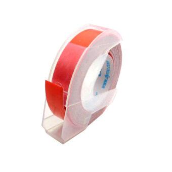 Dymo เทปปั๊มอักษรนูน ผิวมัน ขนาด 9 มม.x 3 ม. - สีแดง (แพ็ค 3 ม้วน)