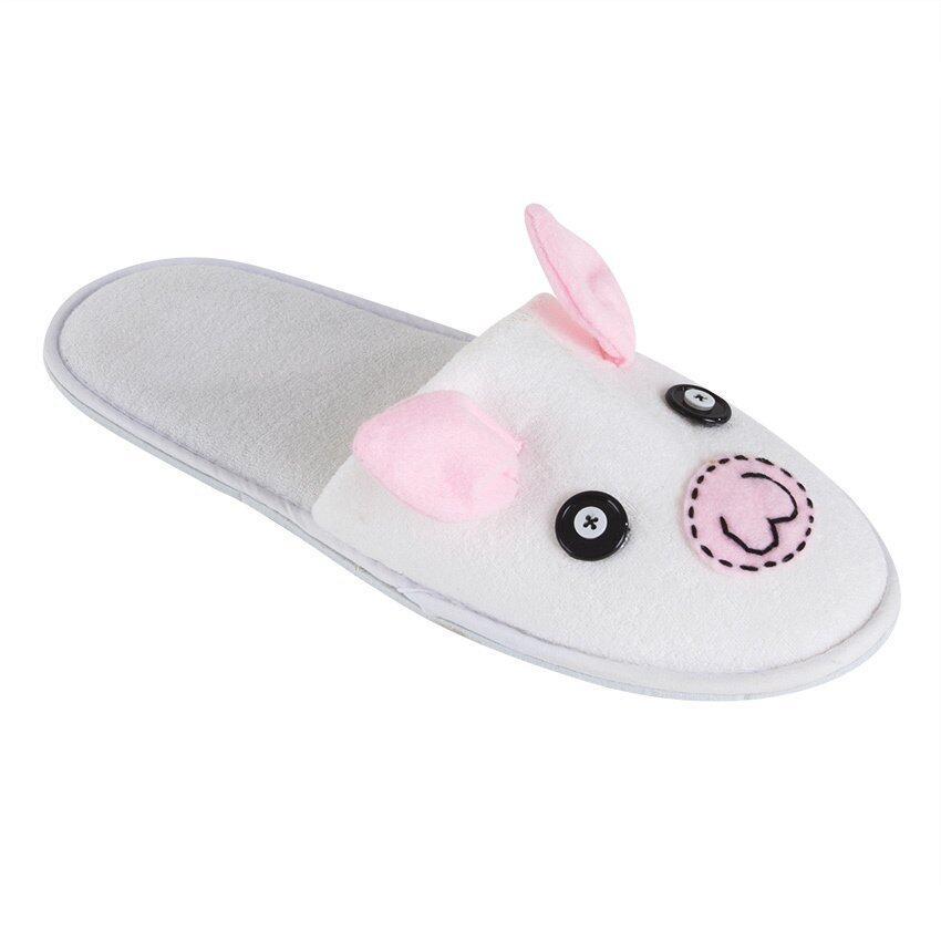 Esupersave รองเท้าสลิปเปอร์ Piggy สีขาว-ชมพู ฟรีไซส์