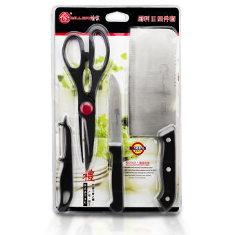 Getservice ชุดมีดสแตนเลส มีดเอนกประสงค์ อุปกรณ์ทำอาหาร Knife Set 4 ชิ้น (Silver/Black)