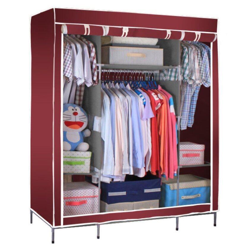 สินค้าแนะนำHakone ตู้เสื้อผ้า 3 บล็อคคิงส์ไซส์พร้อมผ้าคลุม (สีเลือดหมู) ไม่แพง