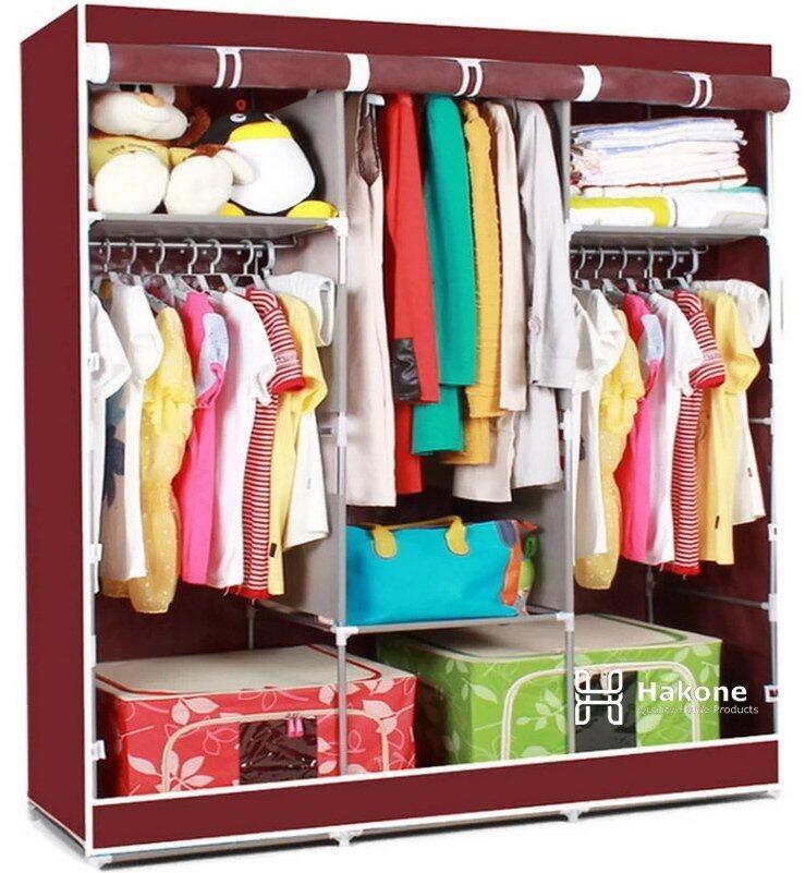 Hakone ตู้เสื้อผ้าญี่ปุ่น 3 บล็อค (สีแดงเลือดหมู)