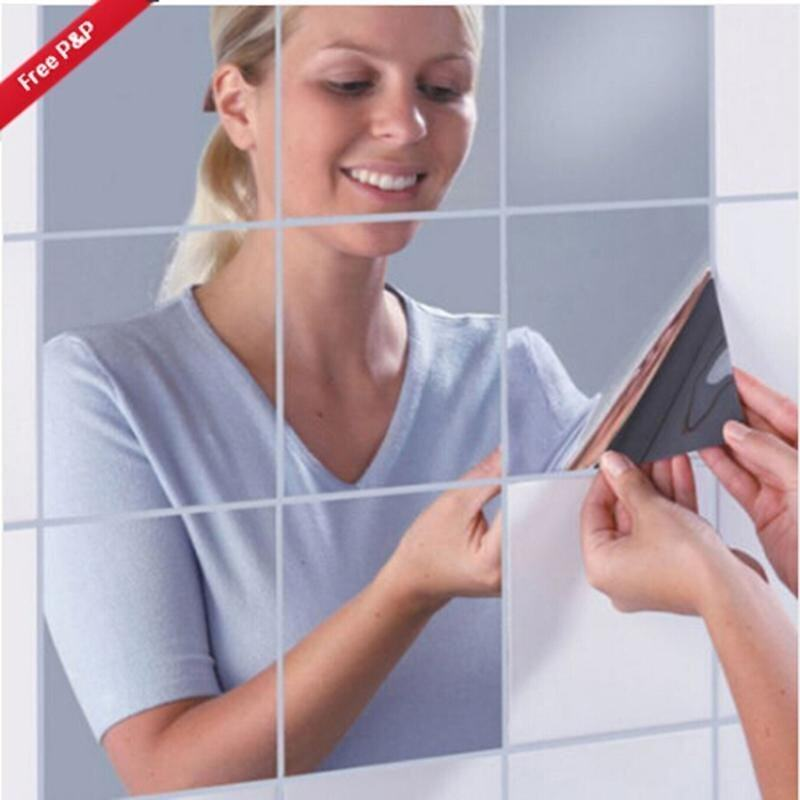 Hang-Qiao 16Pcs Bathroom Square Removeable Mosaic Tiles Mirror Wall Stickers Home Decor (Silver) - intl