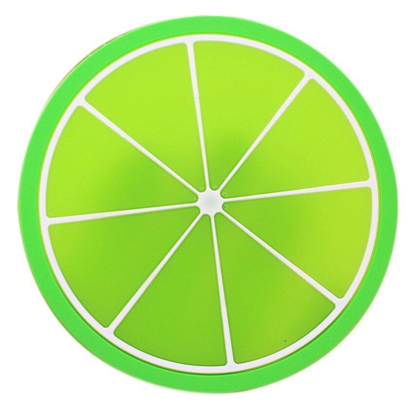 HL Colorful Jelly Fruit Shape Silicone Cup Coaster Padnon-Slip Pad2 PCS Green Orange - intl