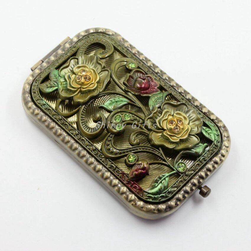 HOMEAN Purse Handbag Double Compact Cosmetic Mirror - Flower Random Color