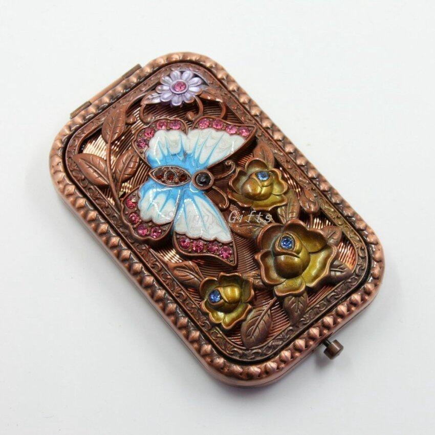 HOMEAN Vintage Antiqued Butterfly Mirror Makeup Mirrors Cosmetic Mirrors