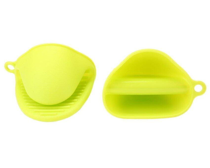 huiying Heat Resistant Silicone Pot Holder Potholder Oven Mini Mitt Gloves Cooking Pinch Grips Mitts 1 Pair (2pcs),Fluorescent Green - intl