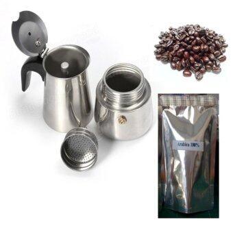 rongstore หม้อต้มกาแฟสดแบบสแตนเลส 4 cupและเม็ดกาแฟอาราบิก้า 100% ขนาด 40 g