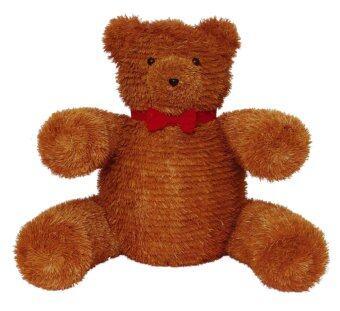 AllMerry Christmas หมีเท็ดดี้สีทองแดงผูกโบว์แดง สูง