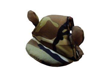 Dogacat หมวกสุนัข หมวกหมา หมวกแมว หมวกมีหู ลายทหาร size 2 - สีน้ำตาล