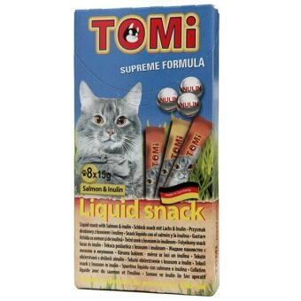 Tomi liquid snack Salmon&Inulin ขนมแมวเลีย รสแซลมอน บรรจุ 8 ซอง (5 Units)
