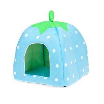 Soft Pet Dog Cat Bed House Kennel Cushion Basket Blue