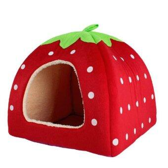 Soft Pet Dog Cat Bed House Kennel Cushion Basket Red