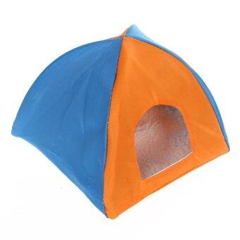 Pet Portable Sun Shelter House Bed Tent Toy (Orange/Blue)